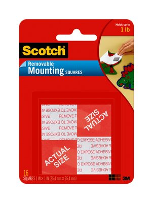 "108 1"" Scotch Removable Tape Squares 24/Cs"