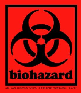 "1-3/4 X 2"" Biohazard Red Label 500/Rl"