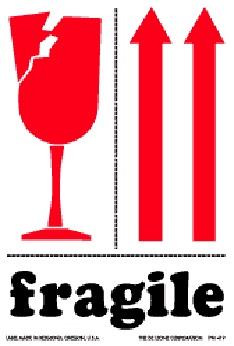 """3 X 4"""" Fragile W/Arrows International Handling Label 500/Rl"""