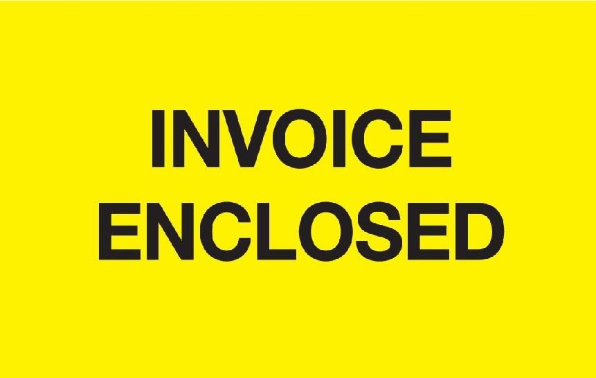 "2 X 3"" Invoice Enclosed Fluorescent Yellow Label 500/Rl"