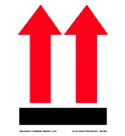 "3 X 4"" Red Up Arrows International Handling Label 500/Rl"