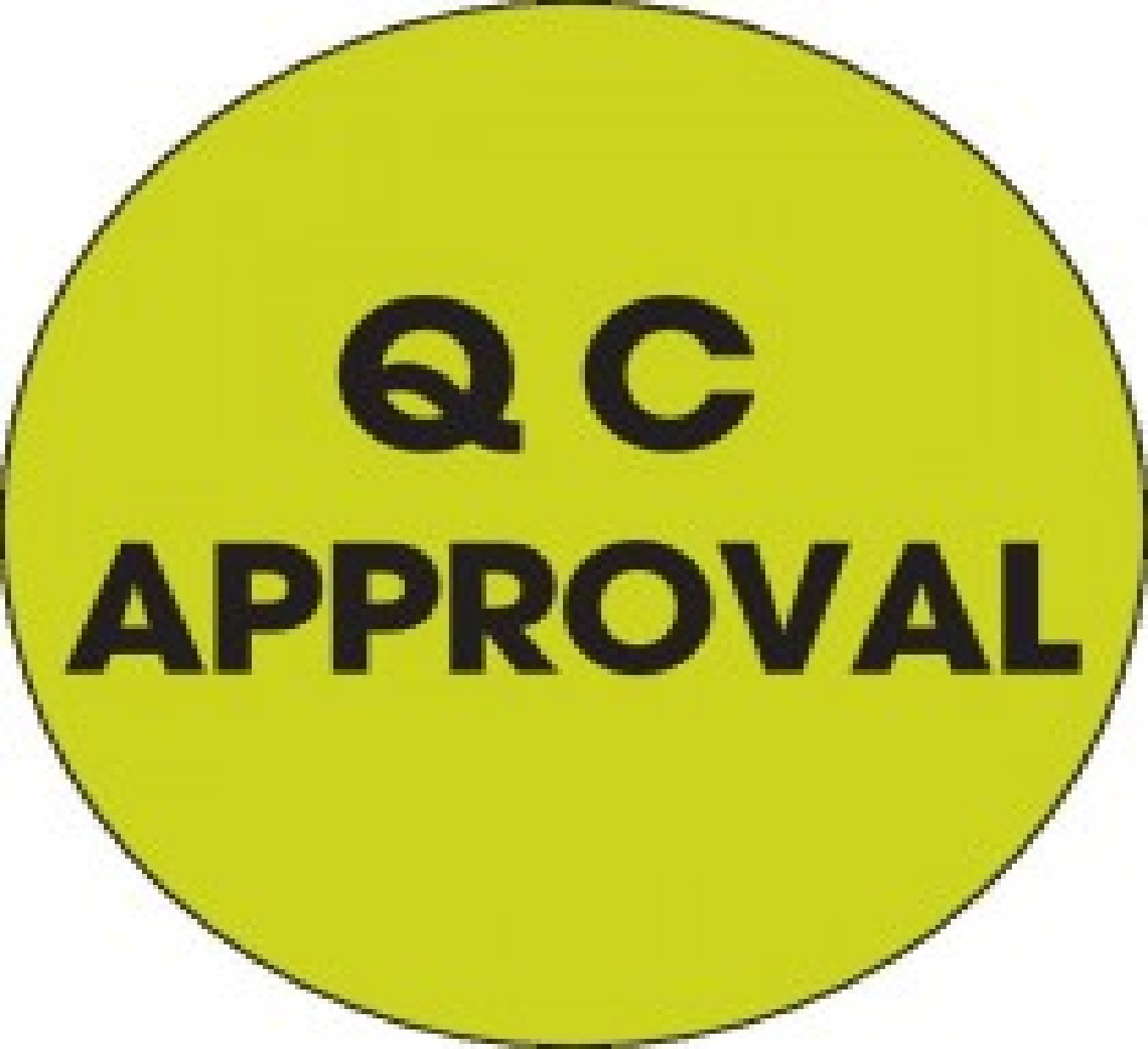 "1"" Diameter Circle ""Qc Approval"" Inventory Control Fluorescent Green Label 500/Rl"