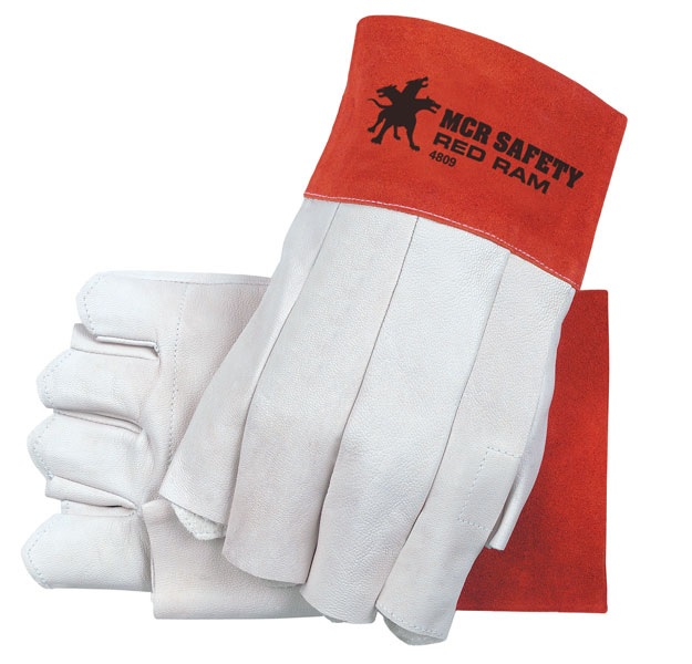 4800 Red Ram Goat Leather Gloves Clute Fingerless Large