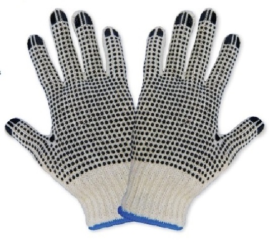 Gg Poly/Cotton Large Gloves 2 Sided Pvc Dot Coating Per Pr