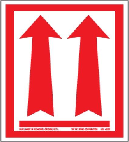 """3 X 4-1/4"""" Red Up Arrows Safe Handling Label 500/Rl"""